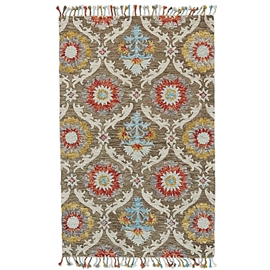 World Menagerie Fleurette Hand-Tufted Brick/Taupe Area Rug; 2' x 3'