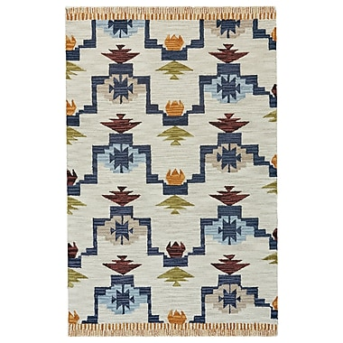 Bungalow Rose Pacifica Hand-tufted Blue/Ivory Area Rug; 3'6'' x 5'6''