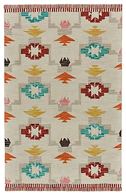Bungalow Rose Pacifica Hand-Tufted Ivory/Crimson Area Rug; 8' x 11'
