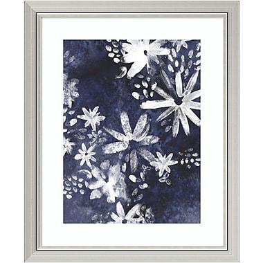 Bungalow Rose 'Indigo Floral Gesture II' Framed Graphic Art Print