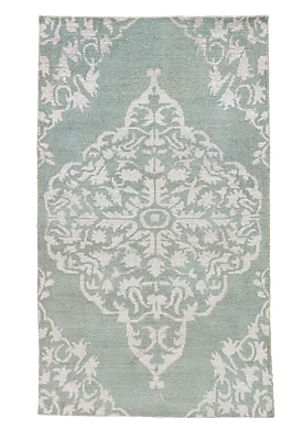 Bungalow Rose Lisse Hand-Knotted Blue Area Rug; 5' x 8'