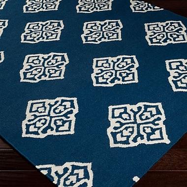Bungalow Rose Faith Mediterranean Blue Geometric Area Rug; 3'6'' x 5'6''