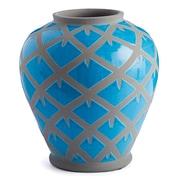 Bungalow Rose Miranda Blue/Gray Ceramic Table Vase