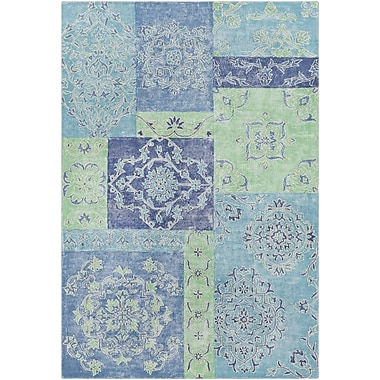 Bungalow Rose Knowland Hand-Tufted Denim/Teal Area Rug; 2' x 3'