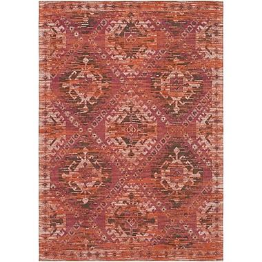 Bungalow Rose Hamza Hand-Woven Garnet/Burnt Orange Area Rug; 5' x 7'6''