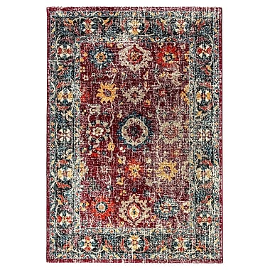 Bungalow Rose Gina Red/Gray/Blue Area Rug; 5'3'' x 7'7''