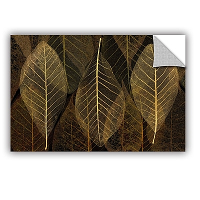 Bungalow Rose Leaf Gold Wall Decal; 12'' H x 18'' W x 0.1'' D