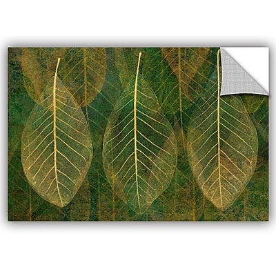 Bungalow Rose Leaf Gold 4 Wall Decal; 8'' H x 12'' W x 0.1'' D