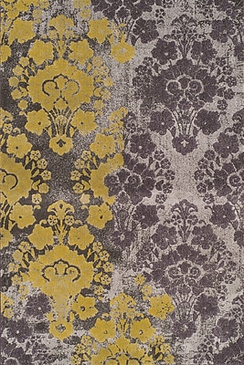 Bungalow Rose Wilton Gold/Grey Ikat Area Rug; 5'3'' x 7'7''