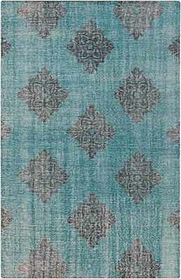 Bungalow Rose Ritesh Damask Teal Area Rug; 2' x 3'