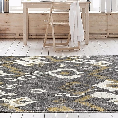 Bungalow Rose Thornton Gray/Yellow Indoor/Outdoor Area Rug; 5'2'' x 7'2''