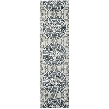 Bungalow Rose Kouerga Silver Area Rug; Runner 2'3'' x 7'