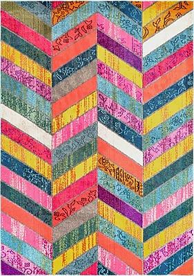 Bungalow Rose Fleming Pink/Green/Yellow Area Rug; 5'3'' x 7'7''