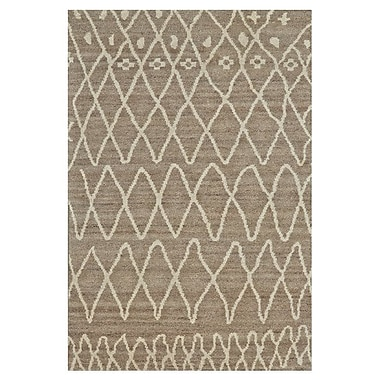 Bungalow Rose Louisa Hand-Knotted Natural/Slate Area Rug; 4' x 6'