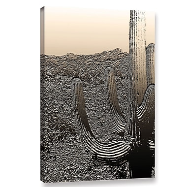 Bungalow Rose 'Silver Saguaro' Graphic Art Print on Canvas; 48'' H x 32'' W x 2'' D