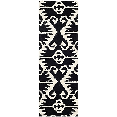 Bungalow Rose Kouerga Black & Ivory Area Rug; Runner 2'3'' x 9'