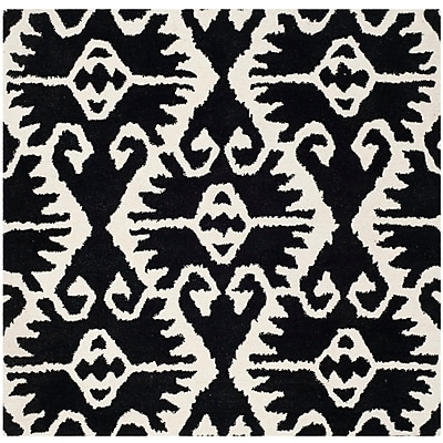 Bungalow Rose Kouerga Black & Ivory Area Rug; Square 7'