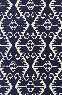 Bungalow Rose Kouerga Royal Blue/Ivory Rug; 5' x 8'