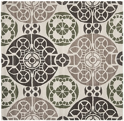Bungalow Rose Kouerga Ivory / Brown Rug; Square 7'