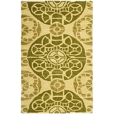 Bungalow Rose Kouerga Honey / Green Rug; 2'6'' x 4'