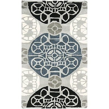 Bungalow Rose Kouerga Grey / Black Rug; 5' x 8'