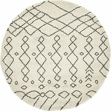 Bungalow Rose Bourne Machine woven Ivory Area Rug; Round 8'