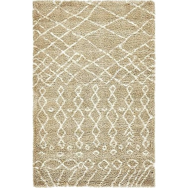 Bungalow Rose Bourne Machine woven Taupe Area Rug; 5' x 8'