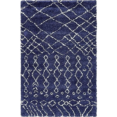 Bungalow Rose Bourne Machine woven Navy Blue Area Rug; 5' x 8'