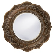 Bungalow Rose Round Antique Copper Wood Wall Mirror