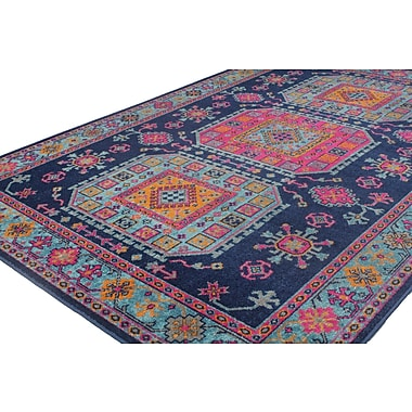 Bungalow Rose Ashburn Distressed Dark Blue Area Rug; 7'7'' x 9'6''