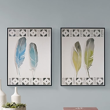 Bungalow Rose 'Windfall Feathers' 2 Piece Framed Graphic Art Print Set on Wood