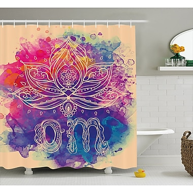 Dia Chakra Oriental Om Lettering and Lillies w/ Surreal Hallucinatory Background Shower Curtain