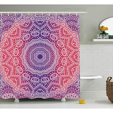 Bungalow Rose Wilbur Pink and Purple Vintage Art Shower Curtain; 69'' W x 70'' H