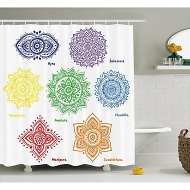 Bungalow Rose Siona Chakra Collection of Symbols Shower Curtain; 69'' W x 70'' H