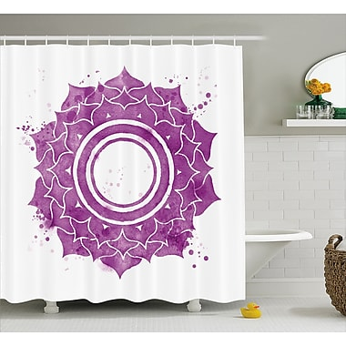Kyoto Chakra Watercolor Flower w/ Sketch Splashes Around Universe Ethereal Artwork Shower Curtain