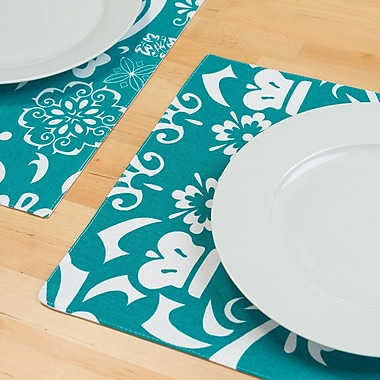 Mistana Greenhill Rectangular Cotton Placemat (Set of 4); Turquoise