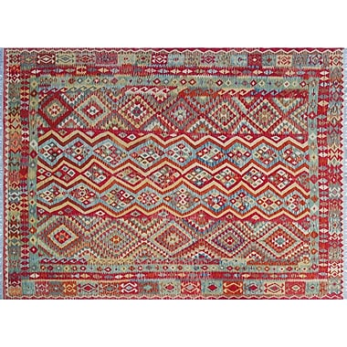 Bungalow Rose Cortez Kilim Hand-Woven Flatweave Red Area Rug