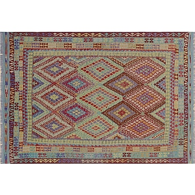 Bungalow Rose Cortez Kilim Hand-Woven Geometric Rectangle Red Area Rug