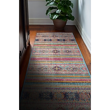 Bungalow Rose Ashburn Distressed Teal Area Rug; Runner 2'6'' x 8'