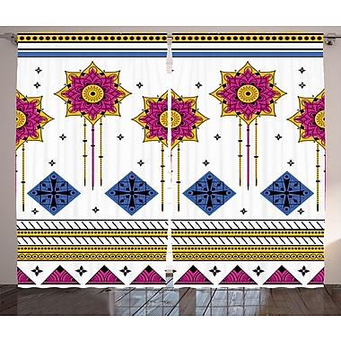 Bungalow Rose Braden Tribal Graphic Print and Text Semi-Sheer Rod pocket Curtain Panels (Set of 2)