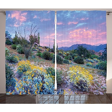 Bungalow Rose Dobson Cactus Graphic Print and Text Semi-Sheer Rod pocket Curtain Panels (Set of 2)