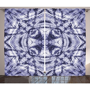 Bungalow Rose Mallory Tie Dye Graphic Print and Text Semi-Sheer Rod pocket Curtain Panels (Set of 2)