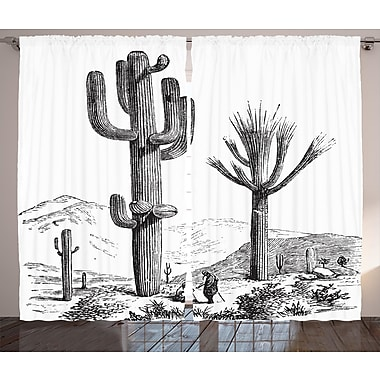 Charleston Cactus Graphic Print and Text Semi-Sheer Rod pocket Curtain Panels (Set of 2)
