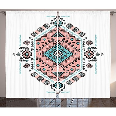Bungalow Rose Allie Tribal Graphic Print and Text Semi-Sheer Rod pocket Curtain Panels (Set of 2)
