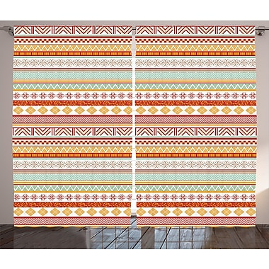 Bungalow Rose Demona Tribal Graphic Print and Text Semi-Sheer Rod pocket Curtain Panels (Set of 2)