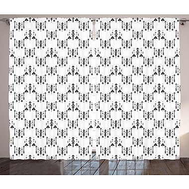 Bungalow Rose Eamor Tribal Graphic Print and Text Semi-Sheer Rod pocket Curtain Panels (Set of 2)