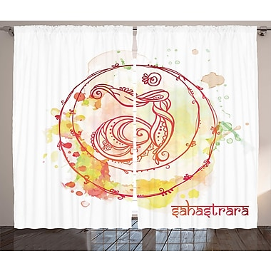 Bungalow Rose April Chakra Graphic Print and Text Semi-Sheer Rod pocket Curtain Panels (Set of 2)