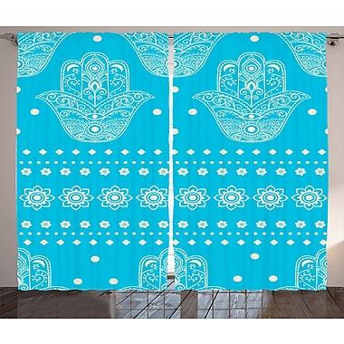 Bungalow Rose Arielle Hamsa Geometric Semi-Sheer Rod pocket Curtain Panels (Set of 2)