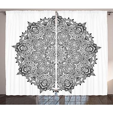 Bungalow Rose Bianca Mandala Graphic Print and Text Semi-Sheer Rod pocket Curtain Panels (Set of 2)