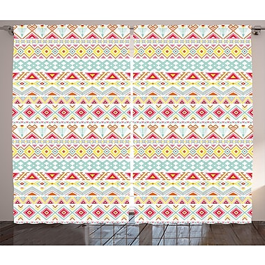 Bungalow Rose Orla Tribal Graphic Print and Text Semi-Sheer Rod pocket Curtain Panels (Set of 2)